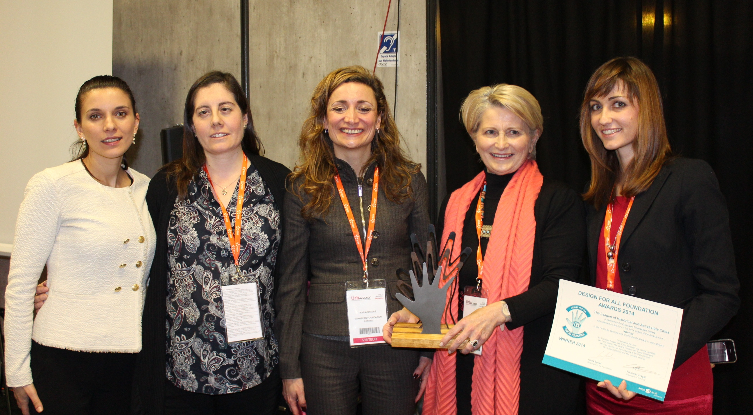 From left to right: Ms. Petya Zelenski, representative of Sozopol Foundation, Ms. Alicia Barragan Iturriaga, Director of project Via Libre (Spain), Ms. Maria Orejas-Chantelot, Thematic Networks Director at the European Foundation Centre (Belguim), Ms. Eliane Hervé-Bazin, Chief Executive, Fondation Réunica (France) and Ms. Silvia Balmas, Coordinator of the League of Historical and Accessible Cities