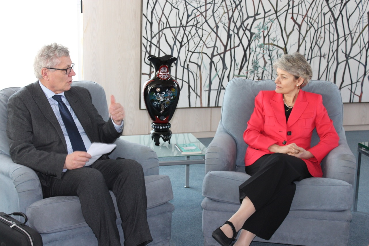 Mr. Patrick Gallaud, President of the NGO-UNESCO Liaison Committee  and Ms. Irina Bokova, Director-General of UNESCO