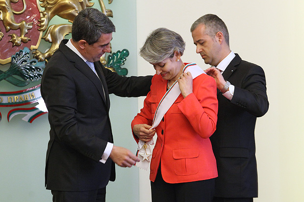 Mr. Rosen Plevneliev awarding Ms. Irina Bokova with a state Order of the Balkan Mountains