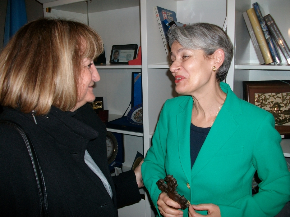 Ms. Lyubov Draganova, expert National and International Projects at Sozopol Foundation, in casual conversation with Ms. Irina Bokova, Director-General of UNESCO