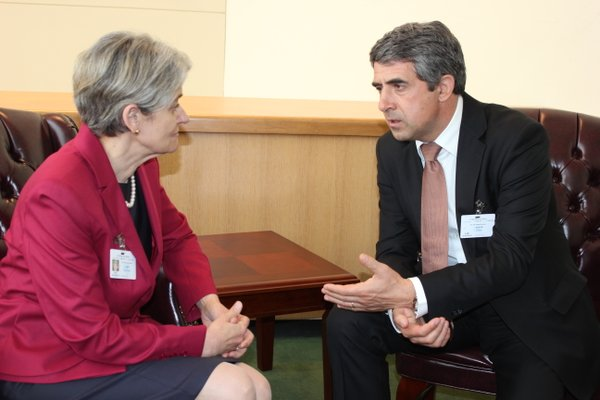 Г-жа Ирина Бокова, Генерален директор на ЮНЕСКО и г-н Росен Плевнелиев, Президент на Република България по време на срещата им